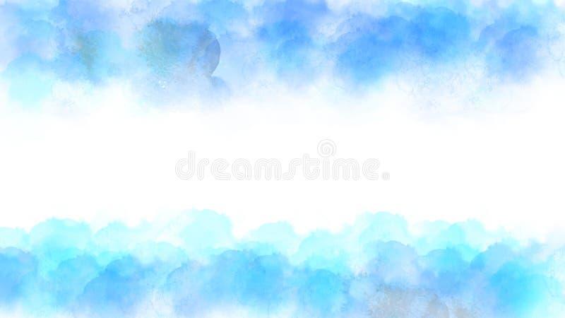导航抽象背景的蓝色和绿色水彩纹理框架 皇族释放例证