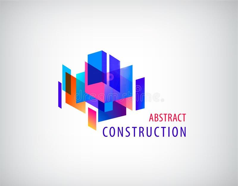 导航抽象3d建筑,建筑学结构,几何 向量例证