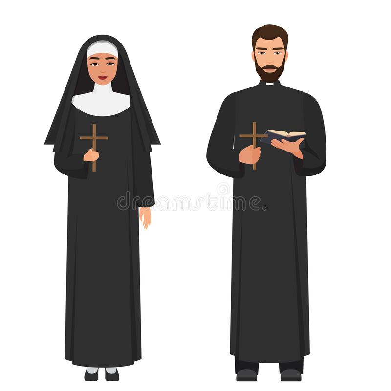 导航拿着发怒十字架的天主教教士和尼姑 库存例证