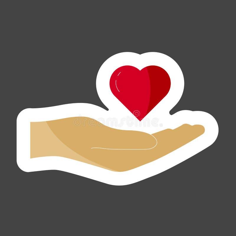 导航拿着心脏的一只红色手的象 h的平的设计 皇族释放例证