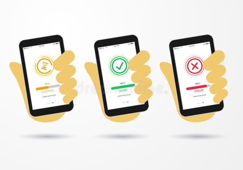 导航拿着有创造性的平的样式象的成功的,错误信息消息页,接口的例证手智能手机 库存例证