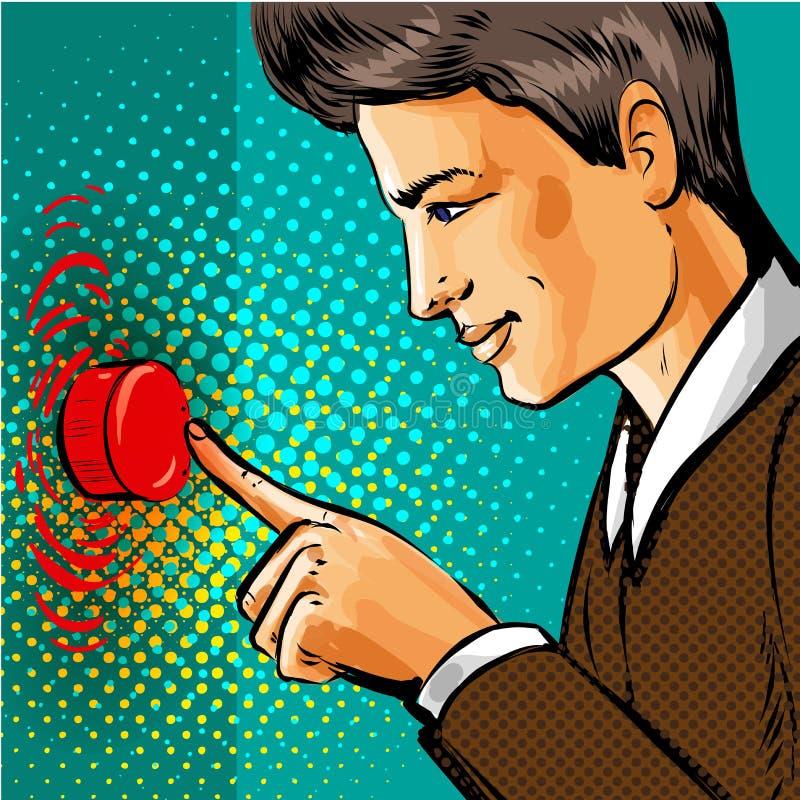 导航按大红色按钮的流行艺术人 向量例证