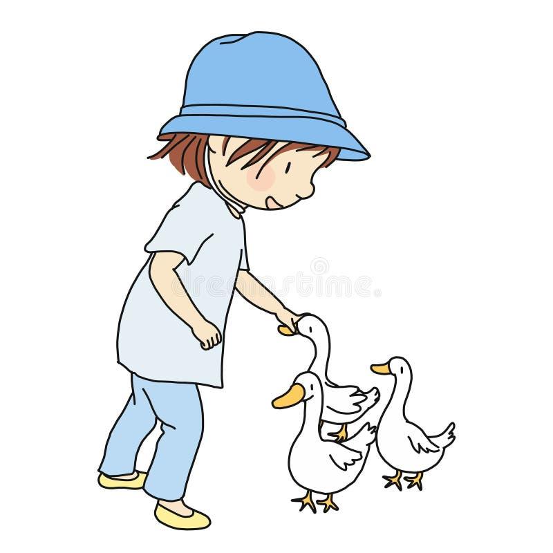导航摩擦她可爱的鸭子,轻轻地在头的小孩的例证 向量例证