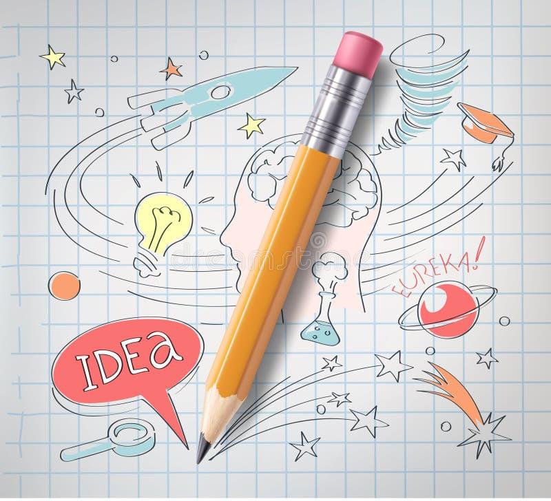 导航教育,科学概念,铅笔,剪影 皇族释放例证