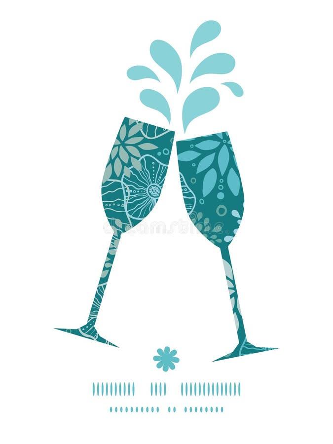导航敬酒酒杯的蓝色和灰色植物 皇族释放例证