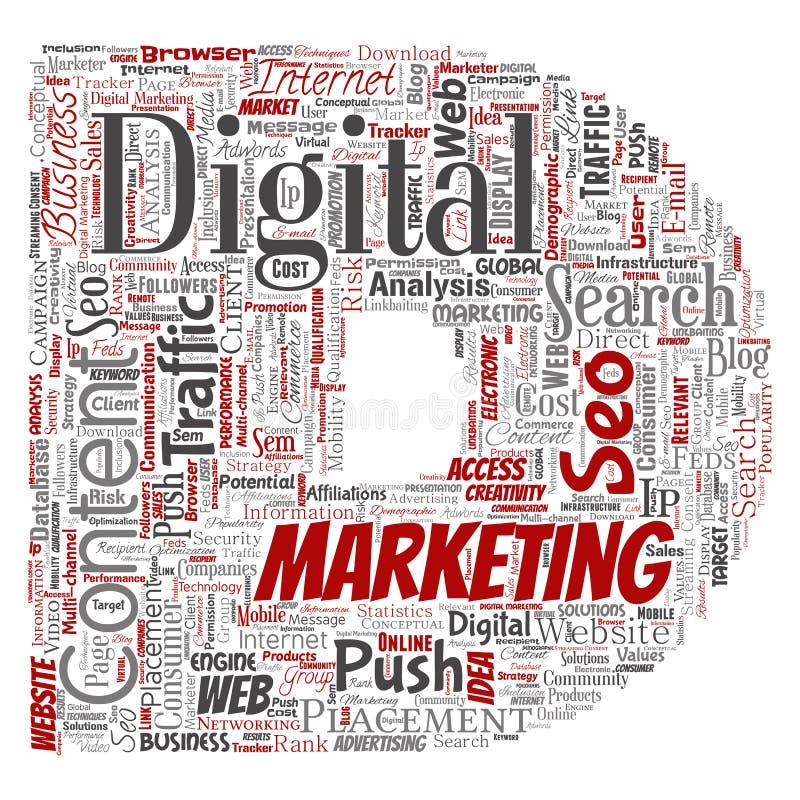 导航数字式营销seo交通信件字体D 向量例证