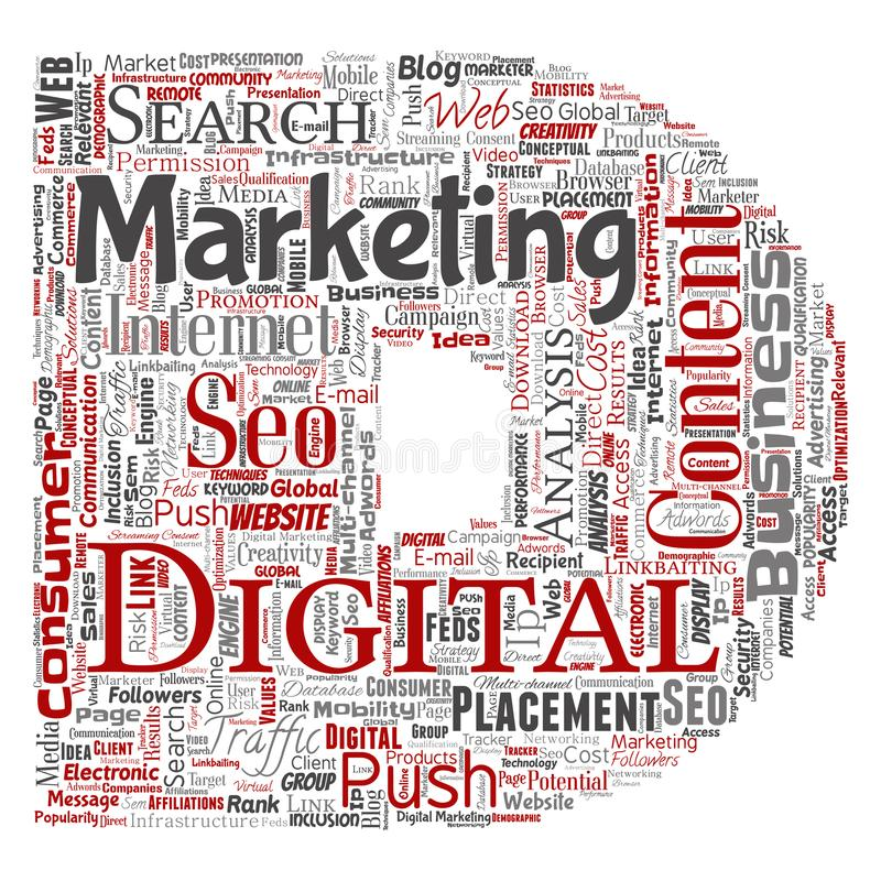 导航数字式营销seo交通信件字体D 库存例证