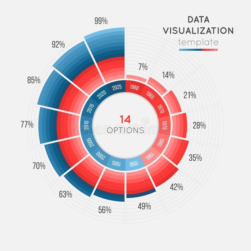 导航数据形象化的圈子图infographic模板 向量例证