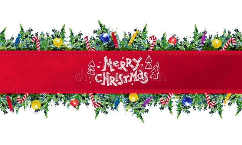 导航新年和圣诞快乐礼物的艺术性的无缝的成套设计&充塞与水彩艺术杉树的装饰, 库存例证