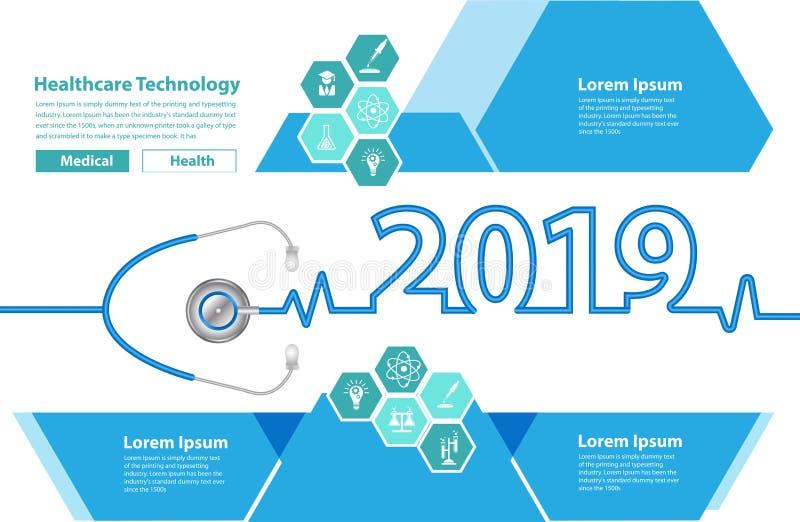 导航新年2019年听诊器心脏创造性的设计 向量例证