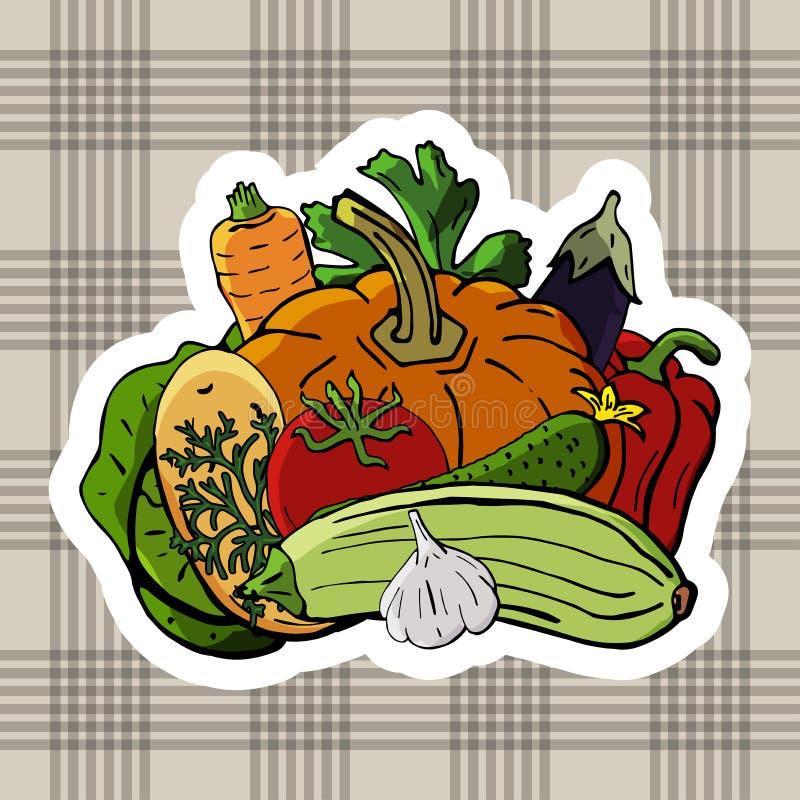 导航新鲜蔬菜的商标在纺织品背景 素食主义者营养的混合 库存例证
