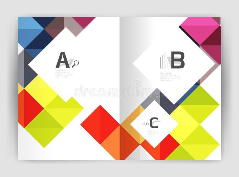 导航方形的minimalistic抽象背景,印刷品模板企业小册子a4 向量例证