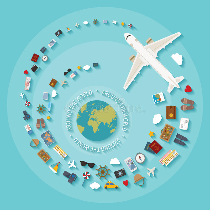 导航旅游业的现代平的样式概念 库存例证