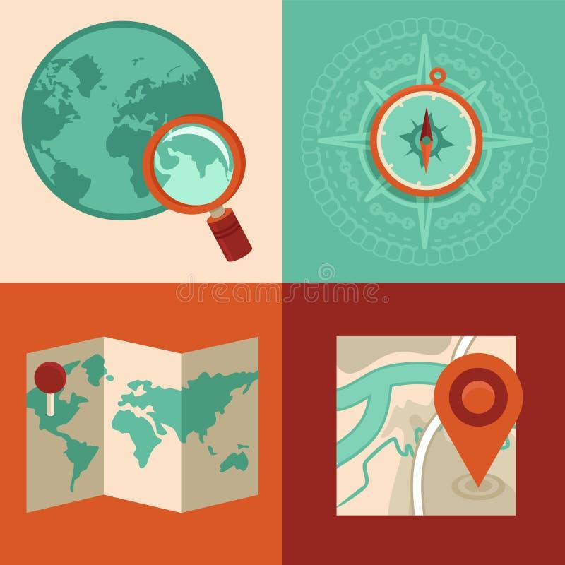 导航旅行和gps概念在平的样式 向量例证