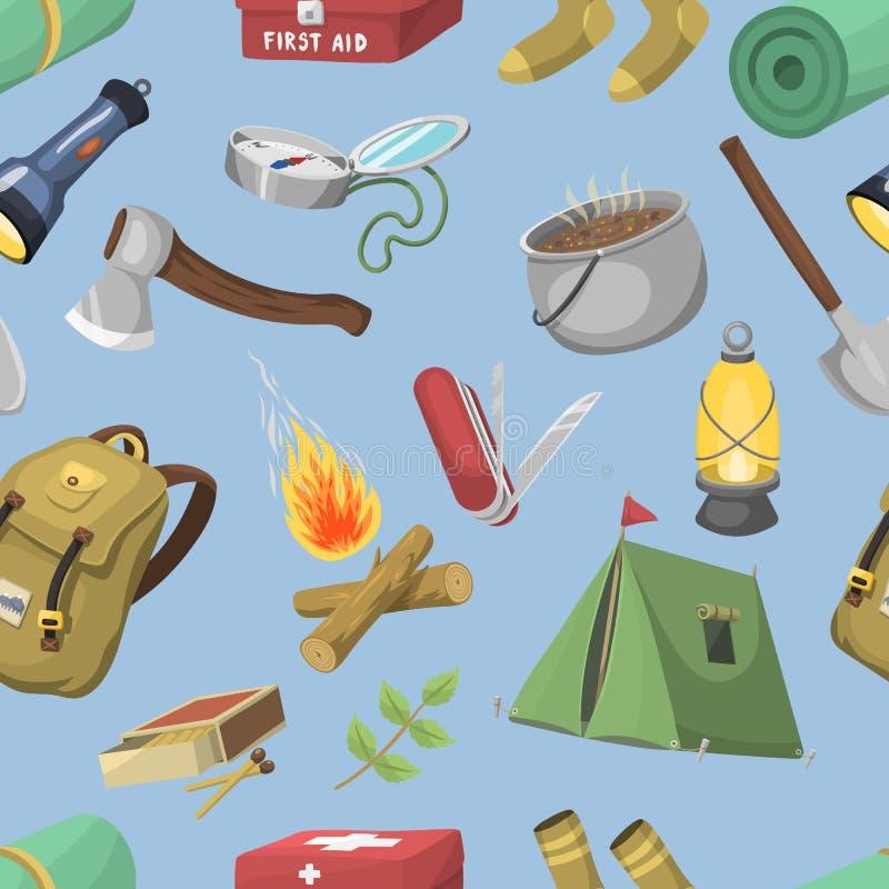 导航旅行室外阵营休闲远征旅游业无缝的样式夏天原野 库存例证