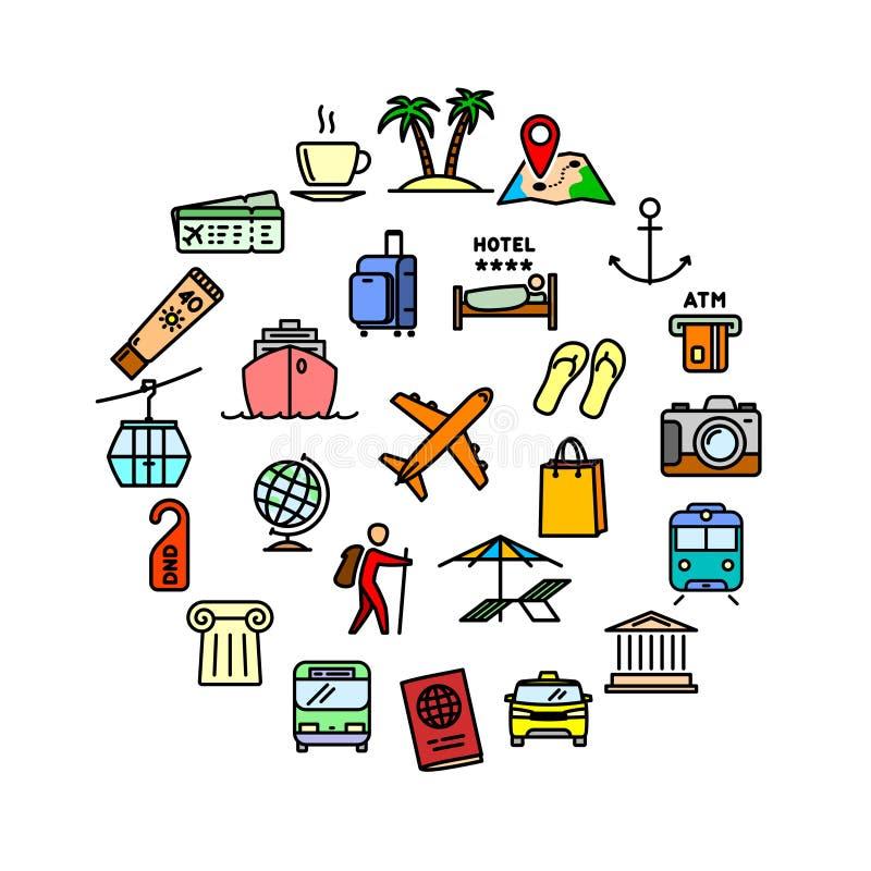 导航旅行相关的套25个颜色概述象 向量例证