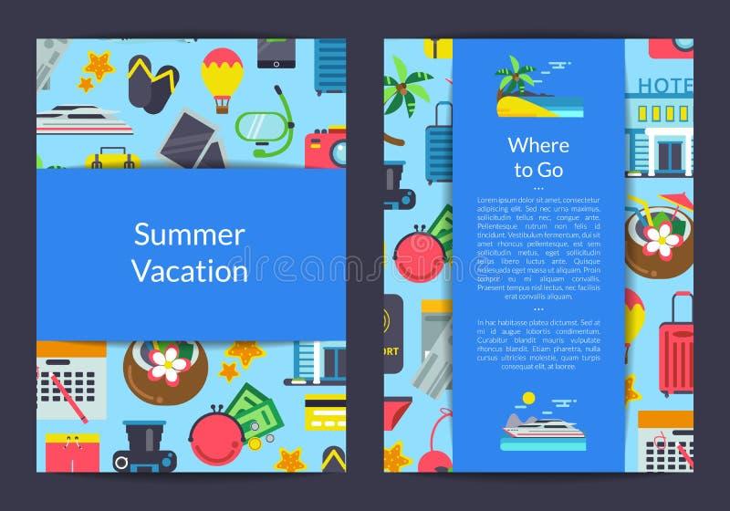 导航旅行社的平的旅行元素卡片、飞行物或者小册子模板 向量例证