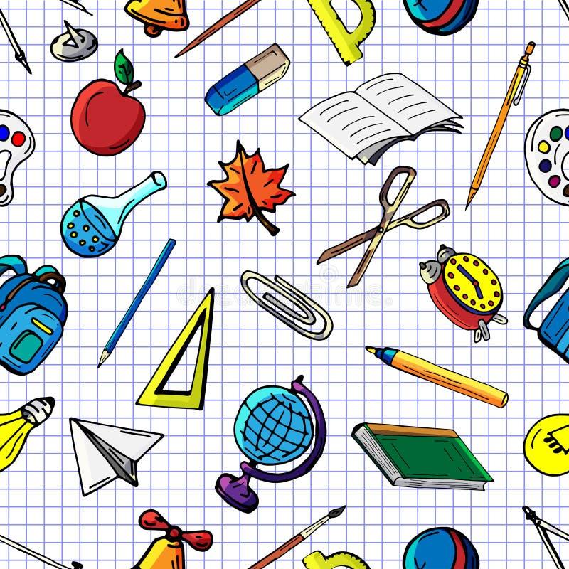 导航无缝的不同的学校对象样式减速火箭的图画  回到学校的题材 能为背景使用 库存例证