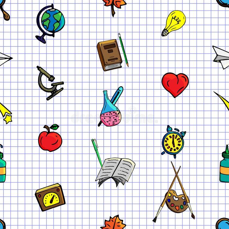 导航无缝的不同的学校对象样式减速火箭的图画  回到学校的题材 能为背景使用 向量例证
