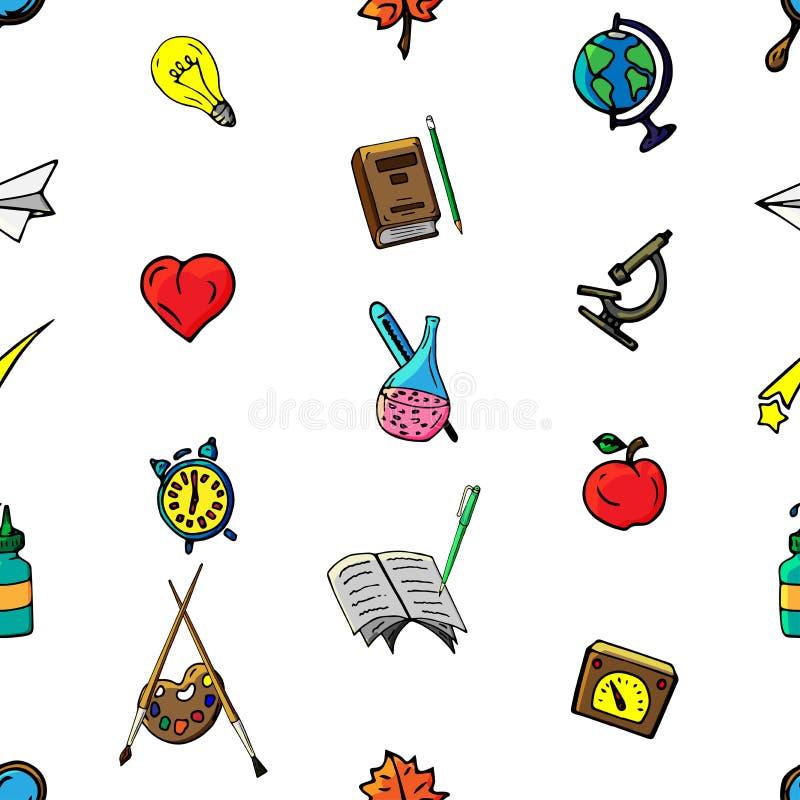 导航无缝的不同的学校对象样式减速火箭的图画  回到学校的题材 能为背景使用 皇族释放例证