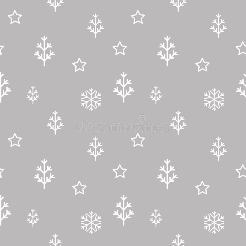 导航无缝的抽象圣诞树、星和雪花样式 库存例证