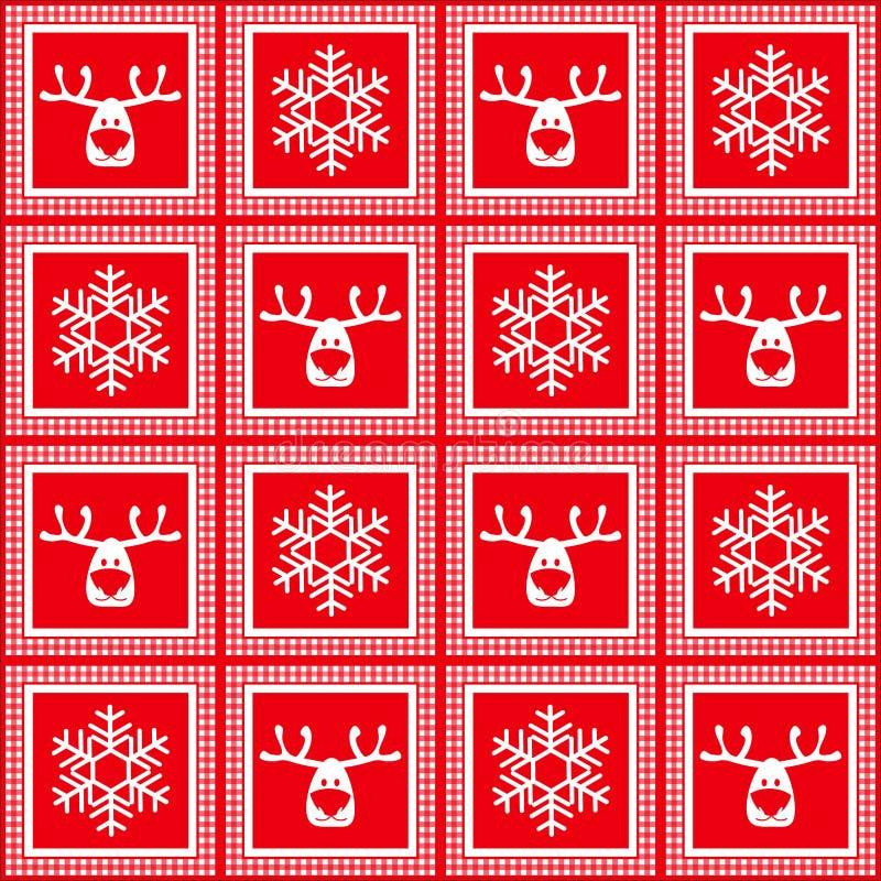 导航无缝的方格的样式,新年,圣诞节,鹿,雪花剪影, 向量例证