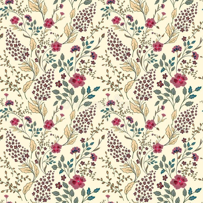 导航无缝的明亮的五颜六色的柔和的手拉的矮小的ditsy花纹花样 在黑色的明亮的花卉全面的印刷品 皇族释放例证