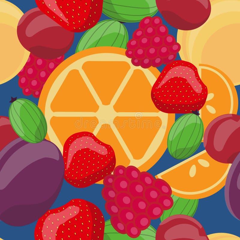 导航无缝的果子样式,桔子,鹅莓,草莓,李子,樱桃,莓,杏子 皇族释放例证