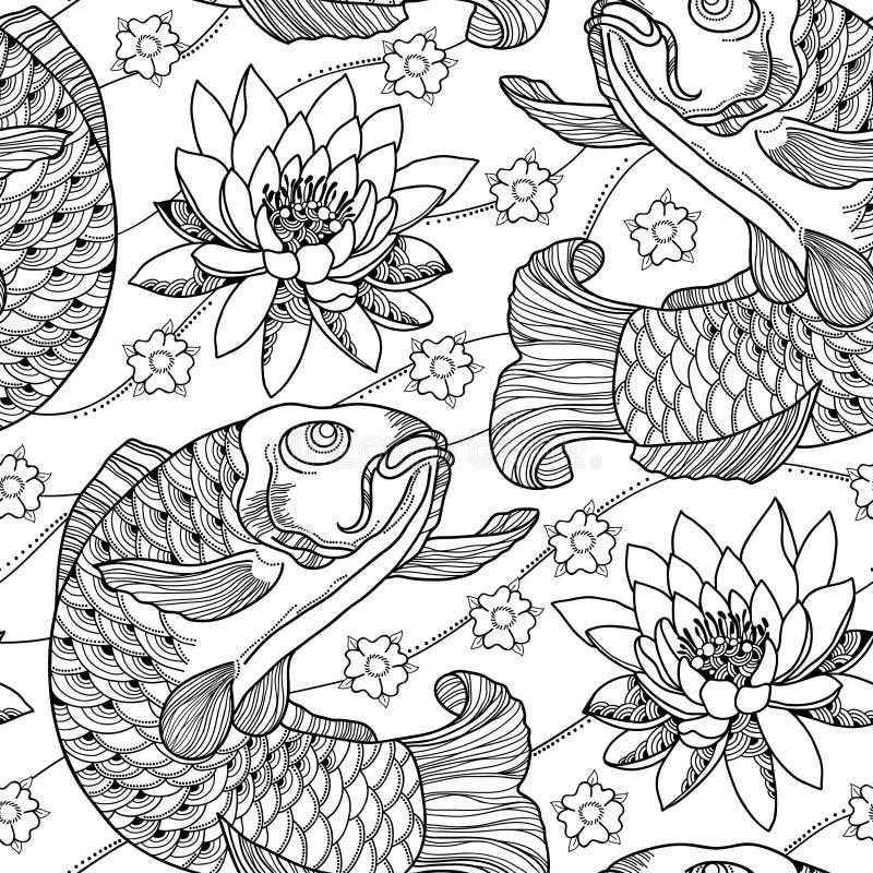 导航无缝的样式用概述koi鲤鱼和莲花或者荷花在黑色在白色背景 日本华丽鱼 向量例证
