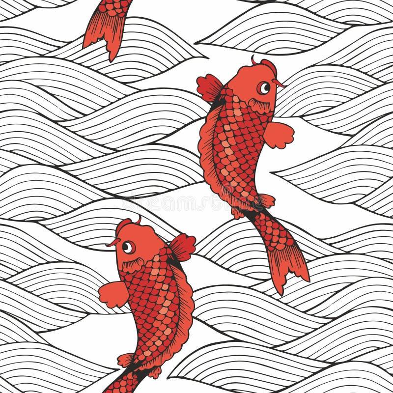 导航无缝的样式用koi鲤鱼和波浪在白色背景 图画递她的温暖的妇女年轻人的早晨内衣 装饰的背景 库存例证