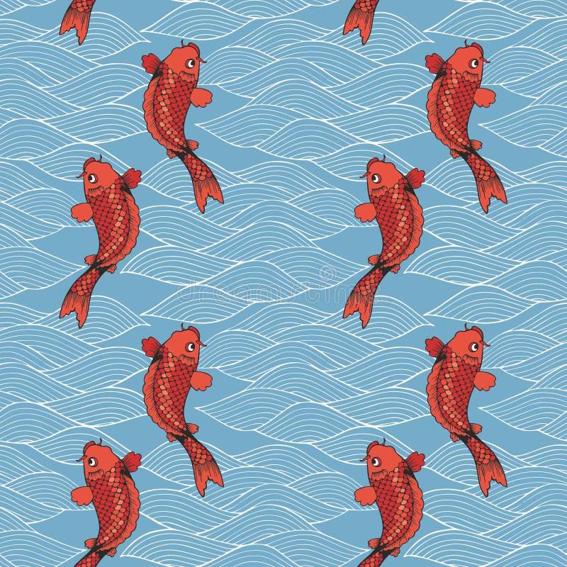 导航无缝的样式用koi鲤鱼和波浪在蓝色背景 在日本式的手图画 向量例证