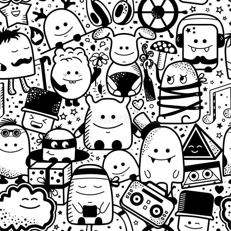 Download 导航无缝的样式,动画片妖怪,字符 向量例证. 插画 包括有 动画片, 咖啡, 图标, 图形, 微笑, 孩子 - 72370843