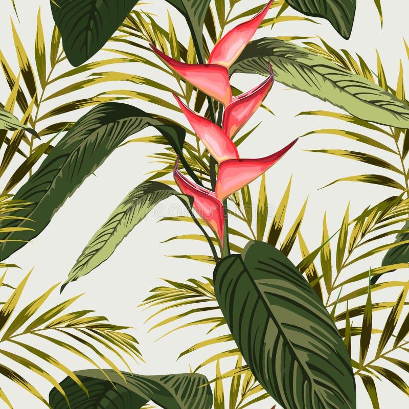 导航无缝的热带样式,热带叶子,与棕榈叶,天堂鸟花,在绽放的heliconia 库存例证
