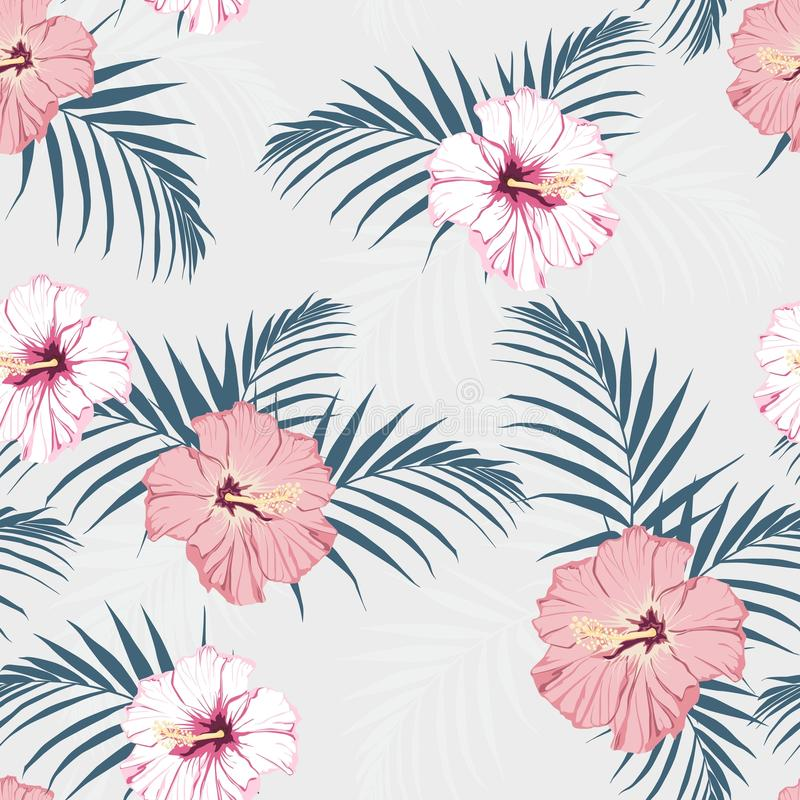 导航无缝的热带样式,生动的热带叶子,与棕榈叶,热带桃红色木槿开花在绽放 现代聪慧的su 皇族释放例证