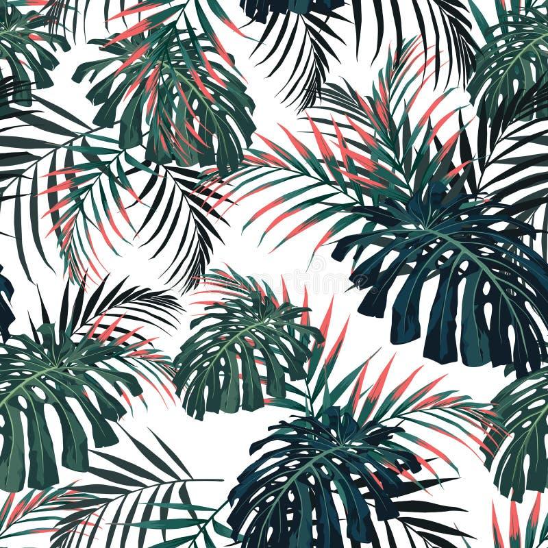 导航无缝的热带样式,生动的热带叶子,与棕榈monstera叶子 现代明亮的夏天印刷品设计 皇族释放例证