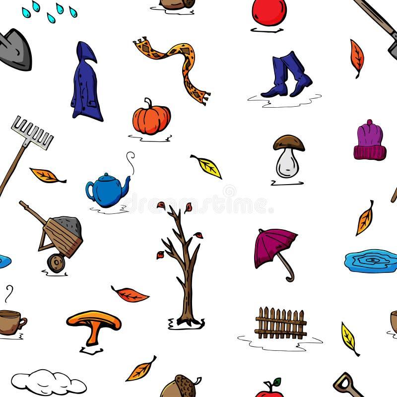 导航无缝的秋天样式样式减速火箭的图画  能为网页背景使用,填装图画,墙纸 皇族释放例证
