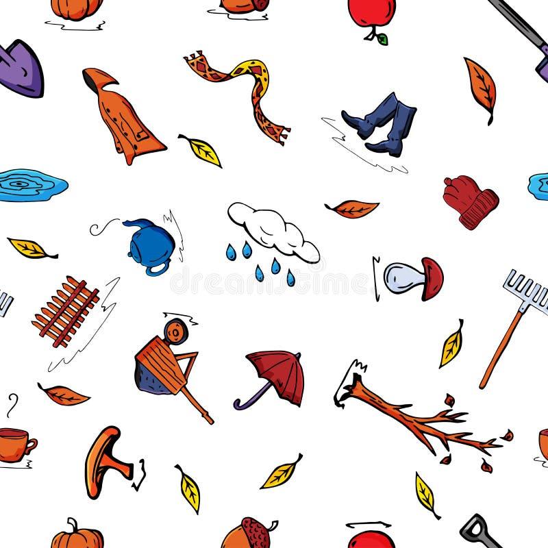 导航无缝的秋天样式样式减速火箭的图画  能为网页背景使用,填装图画,墙纸 库存例证