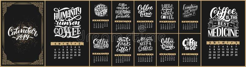 导航日历几个月2 0 1 9 咖啡馆设计的手拉的在上写字的行情 概略的样式 库存例证