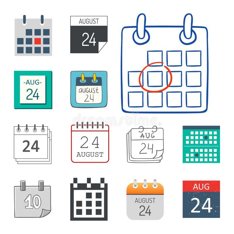 导航日历网象办公室组织者商业图表纸计划任命和图表提示元素为 向量例证