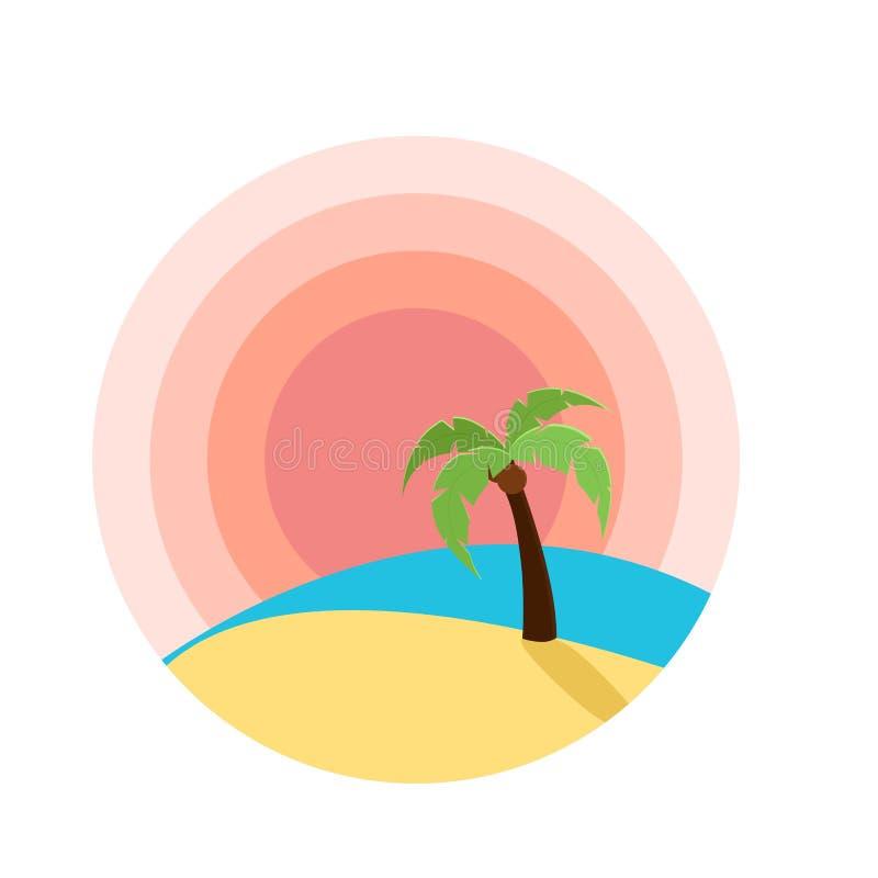 导航日落的例证在海滩的与棕榈树 向量例证
