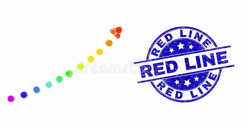 导航明亮的Pixelated被加点趋向箭头象和被抓的红线邮票 向量例证
