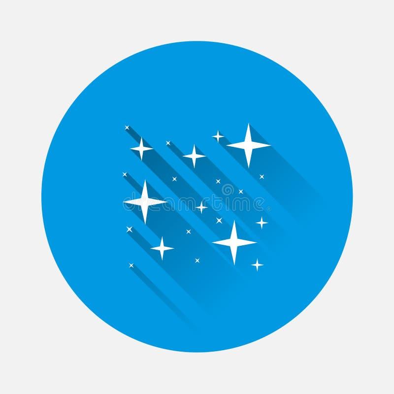 导航星的象,满天星斗的天空,纯净亮光在蓝色bac的 向量例证