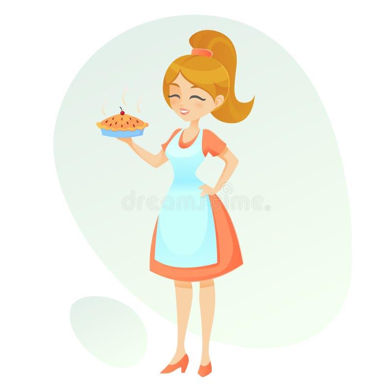 导航显示她的家庭做的饼减速火箭的逗人喜爱的妇女的动画片例证友好的夫人拿着一个热的饼 库存例证
