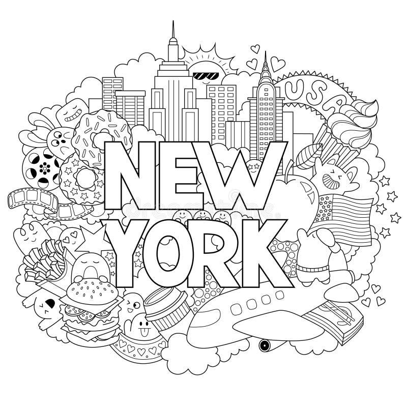 导航显示纽约的建筑学和文化乱画例证 与新手拉的文本的抽象背景 向量例证