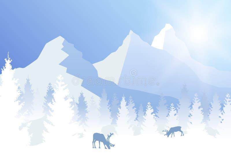 导航晴朗的在蓝色颜色的冬天树木丛生的风景与吃草鹿和山 库存例证