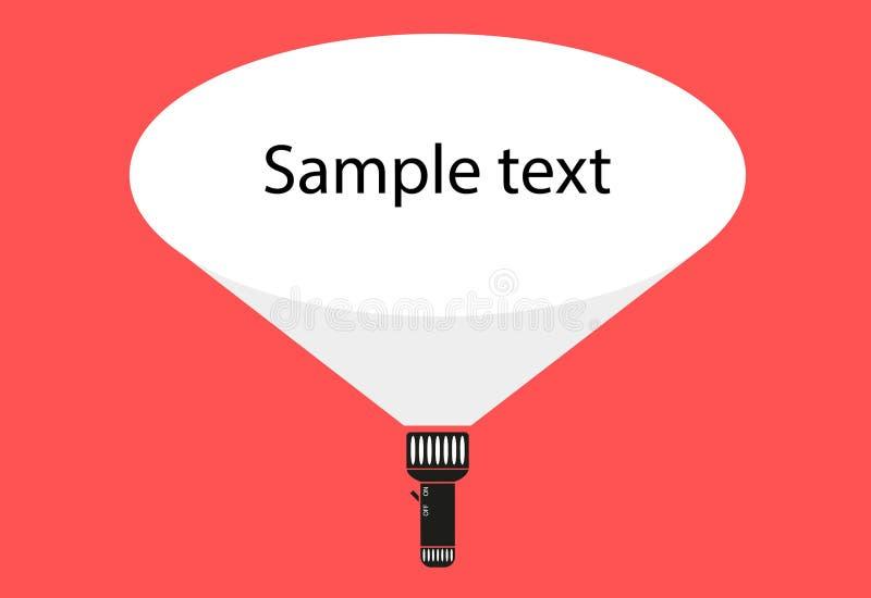 导航有光柱的平的手电和空间您的文本的 库存例证