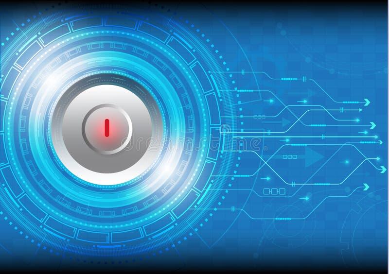 导航有各种各样的技术和红色停止键的圈子技术 库存例证