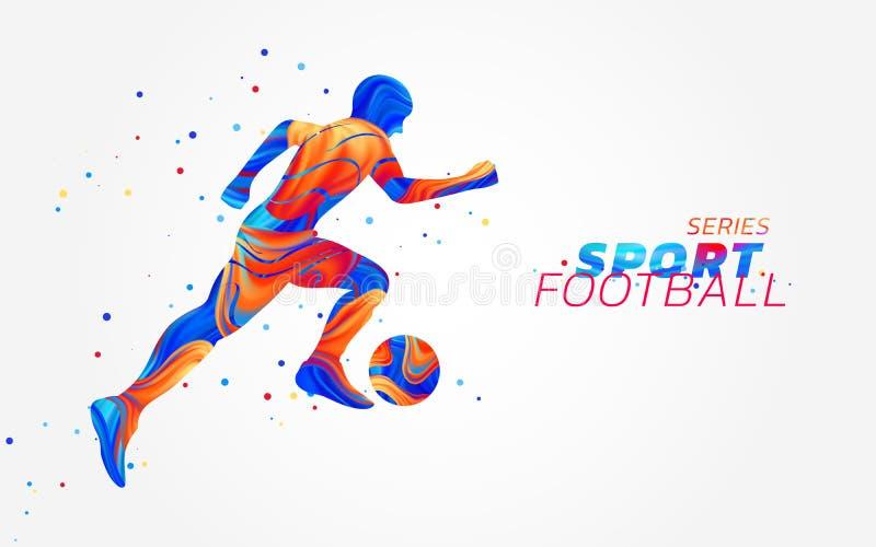 导航有在白色背景隔绝的五颜六色的斑点的足球运动员 与色的油漆刷的液体设计 足球 皇族释放例证