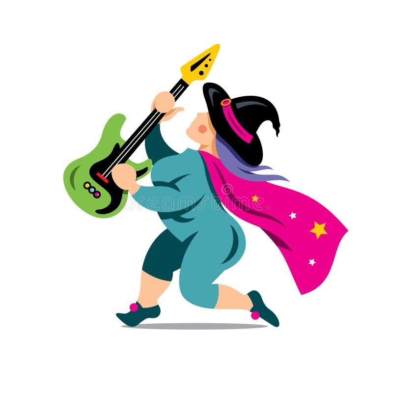 导航有岩石吉他动画片例证的万圣夜巫婆 向量例证