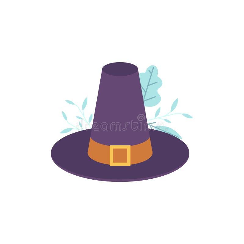 导航有扣和传送带的香客蓝色帽子 库存例证